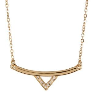 NWT Rebecca Minkoff Gold V-bar Pendant Necklace